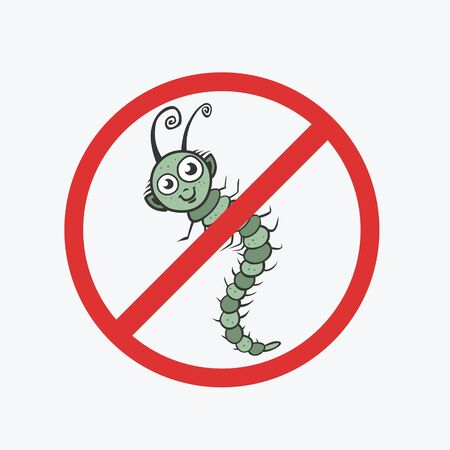Funny vector icon. Centipede, caterpillar, worm. Flat Illustration for your design