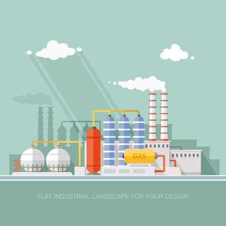 petrochemical: Gas storage spheres tank in petrochemical plant. Extraction and processing of liquefied gas. factory, station on the background of the urban landscape. flat icon