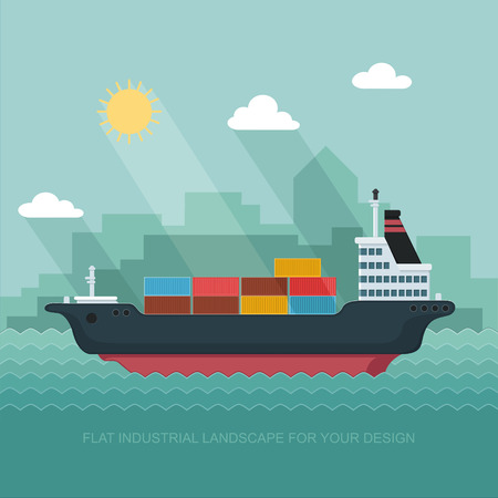 Landscape s sailing ship. Carrier, Containers on the Container Ship. Flat vector illustration Illustration