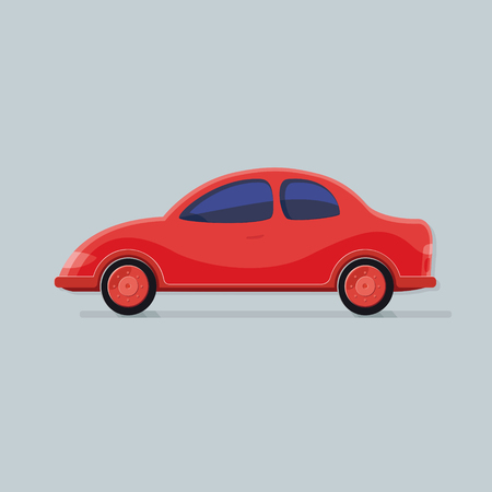 Transportation. Red car isolated background. Flat icon vector illustration. Illustration