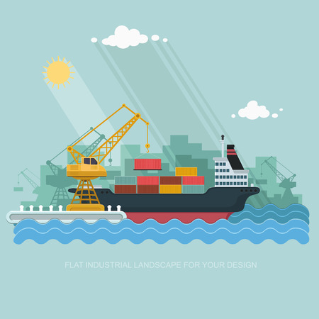 port: Landscape seaport. The crane which unloads. Carrier, Cranes in Port Load Containers on the Container Ship. Flat vector illustration