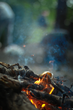 Tourist bonfire in the evening. Burning logs, firewood in the fire camp. Bokeh blurred background