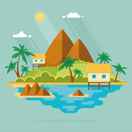 maldives island: Summer paradise ocean landscape. A beautiful island with huts in the sea. Vacation with a holiday in the tropics. Flat vector illustration