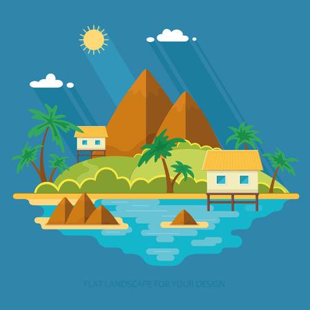 Sommerparadies Ozean Landschaft. Eine schöne Insel mit Hütten im Meer. Urlaub mit einem Urlaub in den Tropen. Flache Vektor-Illustration