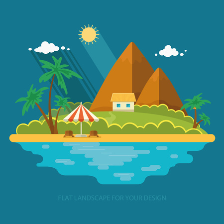 sunshade: Summer paradise ocean landscape. A beautiful island with huts in the sea. House on the beach. Vacation with a holiday in the tropics. Flat icons vector illustration