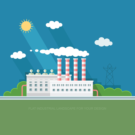 Flat waste incineration plant exterior with City in the background. Building, workers. recycling, nature care, alternative resource, incinerator concept. Vector background illustration