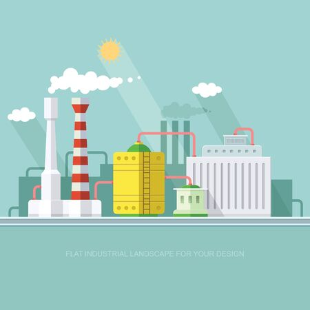 industry manufacturer building. Factories producing oil and gas, metals and rubber, energy and power.
