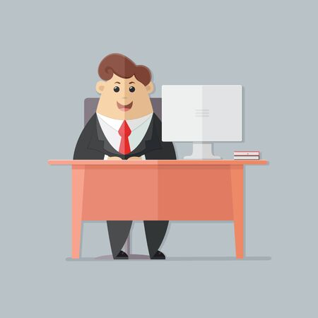 Man in a suit with a red tie. manager, accounts department, banker, businessman office worker, boss, at a desk with a computer. Flat vector illustration