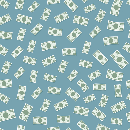 Seamless vector pattern flying banknotes money. Background flat style design illustration Illustration
