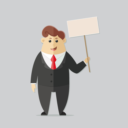 candidates: Man in a suit with a red tie. Office worker, manager, accounts department, banker, businessman. Presentation guy for your design. Flat vector illustration