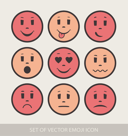 Set of Graphic Emoticons. Collection of Emoji. Smile icons. Isolated vector illustration on white background Illustration