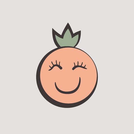 Graphic Emoticon, Tropical fruit. womans face with a crown. Smile icons. Isolated vector illustration on white background