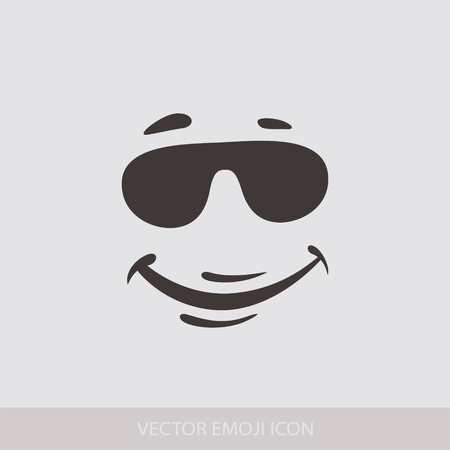 Graphic Emoticon, Emoji, Face in glasses. Smile icons. Isolated vector illustration on white background