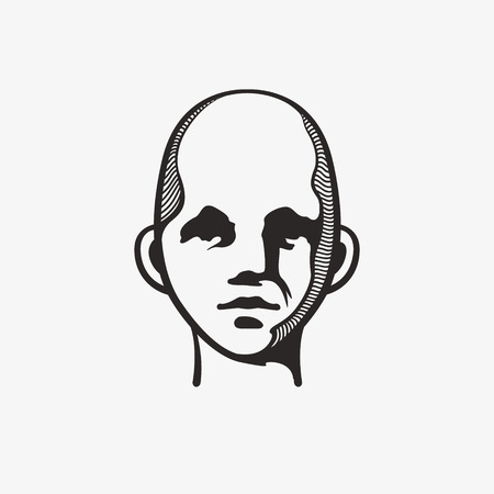 Drawn grunge grim graphic icon of a mans head. Vector illustration of people. Portrait in a modern style design
