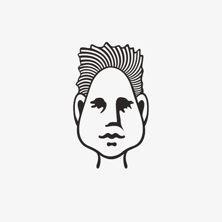 Drawn grunge grim graphic icon of a man's head. Vector illustration of people with an original hairdo. Portrait of a guy in a modern style design