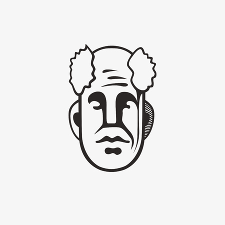 dangerous man: Drawn grunge grim graphic icon of a mans head. Vector illustration of people. Portrait in a modern style design