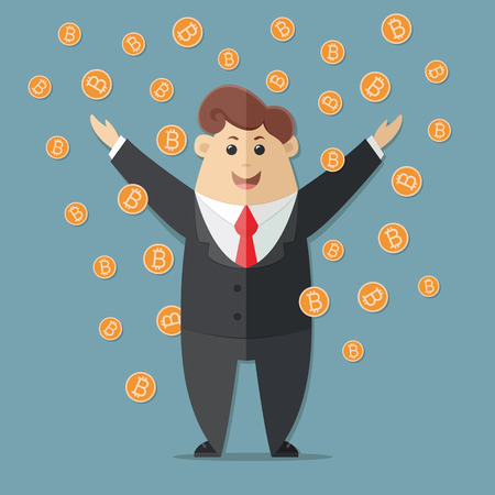 Man in a suit with a red tie getting a lot of Bitcoins. Simple way to earn money online. Flat vector icon, illustration. 矢量图像