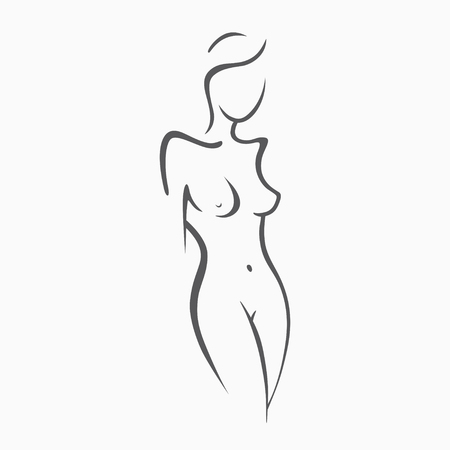 Sexy fitness naked girl with a chic figure. Intimate sexy lady, model in a pose. Lovely  ass bikini zone. Drawn graphics for design, Abstraction background Ilustracja