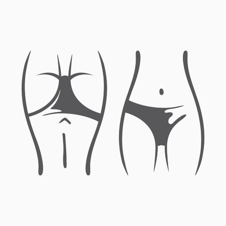 Sexy fitness figure of a girl. Intimate hygiene, vector lady poses set. Lovely elastic ass in shorts. Drawn graphics for design, background Ilustração