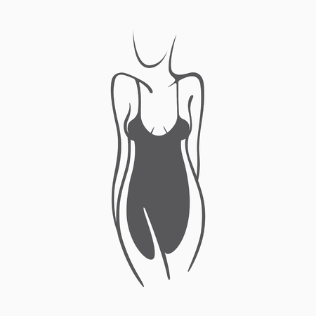 Sexy fitness figure of a girl in the evening dress. Intimate sexy lady, model in a pose. Lovely elastic ass bikini zone. Drawn graphics for design, background Illustration