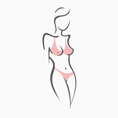 Sexy fitness naked girl with a chic figure. Intimate sexy lady, model in a pose. Lovely ass In swimsuit, panties. Drawn graphics for design, Abstraction background Vectores