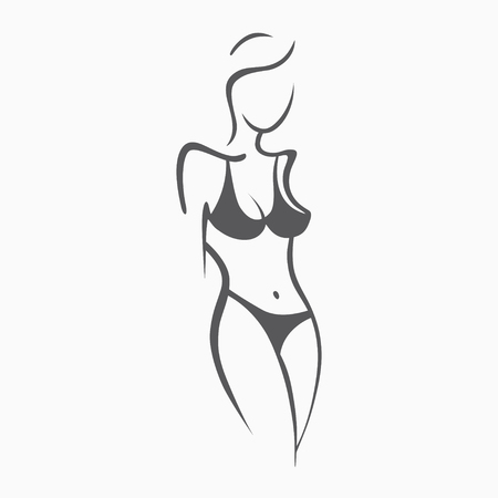 Sexy fitness naked girl with a chic figure. Intimate sexy lady, model in a pose. Lovely ass In swimsuit, panties. Drawn graphics for design, Abstraction background Vettoriali