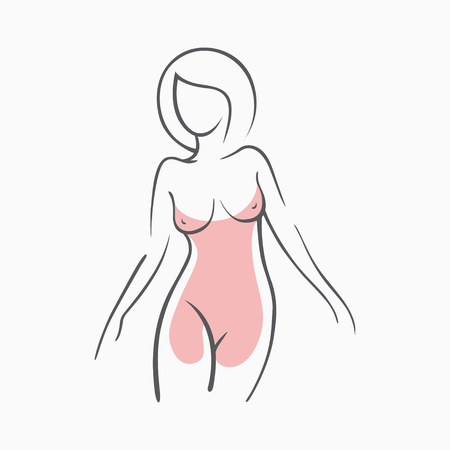Sexy fitness figure of a girl in the evening dress. Intimate sexy lady, model in a pose. Lovely elastic ass bikini zone. Drawn graphics for design, background 일러스트