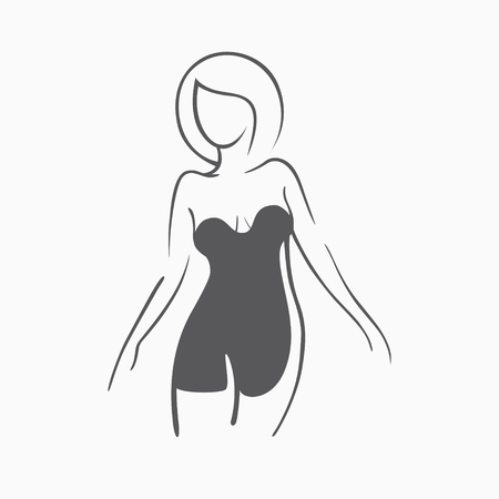 Sexy fitness figure of a girl in the evening dress. Intimate sexy lady, model in a pose. Lovely elastic ass bikini zone. Drawn graphics for design, background Ilustração