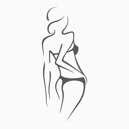 セクシーなフィットネス シックな図と裸の女の子。親密なセクシーな女性、モデルのポーズで。水着、パンツでの素敵なお尻。デザイン、抽象背景