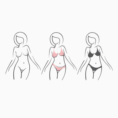 Ilustración de cómic conjunto de chica desnuda sexy fitness y en traje de baño, figura elegante. Encantadora modelo en una pose. Gráficos de arte dibujados para el diseño. Foto de archivo - 83846152