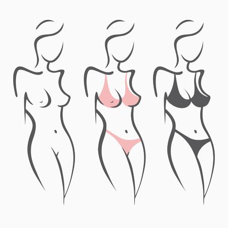Grappige illustratiereeks van sexy fitness naakt meisje en in zwempak, elegant cijfer. Mooi model in een pose. Getrokken grafische afbeeldingen voor ontwerp.