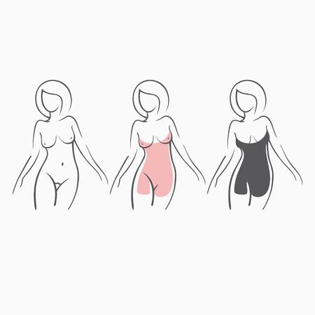 シックなフィギュア コレクション セクシーなフィットネスの裸の女の子。親密なセクシーな女性、モデルのポーズで。ドレスに身を包んだ素敵なお