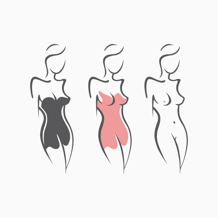 Colección atractiva chica desnuda de fitness con una figura elegante. Señora atractiva íntima, modelo en una actitud. Asno encantador vestido de vestido, camisón. Dibujado, arte, gráficos, diseño, fondo Foto de archivo - 83958113