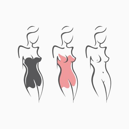Collectie sexy fitness naakt meisje met een chique figuur. Intieme sexy dame, model in een pose. Mooie reet gekleed in jurk, nachtjapon. Getrokken kunstgrafieken voor ontwerp, achtergrond Stock Illustratie