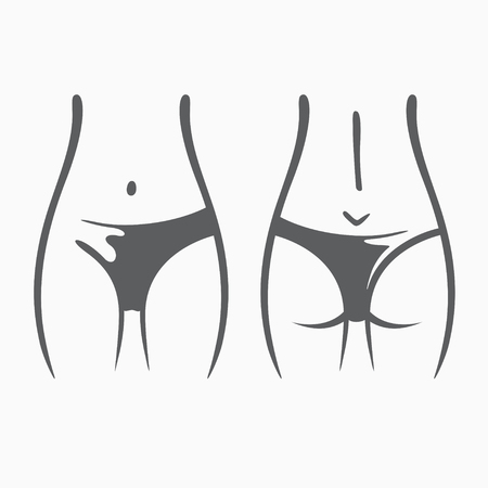 Sexy fitness figure of a girl. Intimate hygiene, vector lady poses set. Lovely elastic ass in shorts. Drawn graphics for design, background Ilustracja