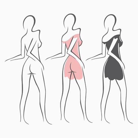 Colección atractiva chica desnuda de fitness con una figura elegante. Señora atractiva íntima, modelo en una actitud. Asno encantador vestido de vestido, camisón. Dibujado, arte, gráficos, diseño, fondo Foto de archivo - 83926150