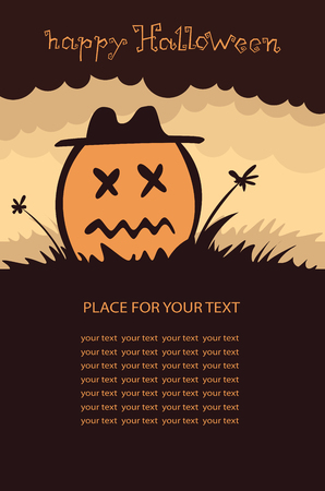 Banner vertical background with pumpkin, Terrible character in a hat for holiday . Flyer or invitation template for Halloween party. Vector illustration.