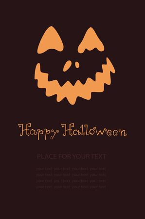Banner with pumpkin, Terrible character in a hat for holiday. Glowing muzzle on a dark background. Flyer or invitation template for Halloween party. Vector illustration. Illustration
