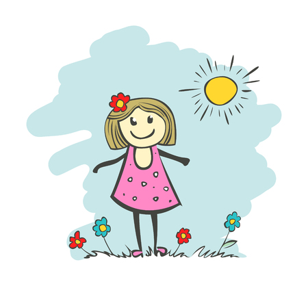 small business: Childs drawing of a girl, a postcard with a mothers day. Drawing banner for design. Vector simple flat illustration