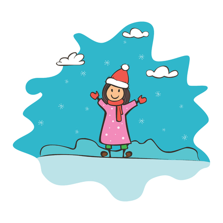 Child drawing girl, greeting card with new year and christmas. Drawing banner for design. Vector simple flat illustration Illusztráció