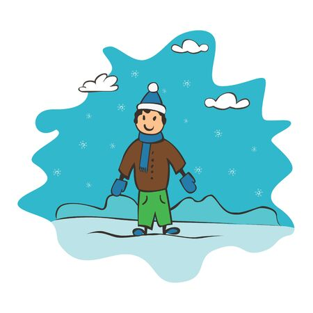 Child drawing boy, greeting card with new year and christmas. Drawing banner for design. Vector simple flat illustration
