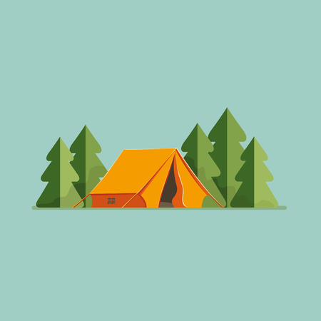 Graphic Decorative Tourist cartoon tent isolated. Camping in nature in an orange hut flat illustration, icon