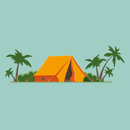 Graphic Decorative Tourist cartoon tent isolated, Among palm trees. Camping in nature in an orange hut. Summer vacation flat illustration, icon