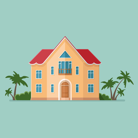 Graphic Decorative house, Summer vacation. Landscape in a minimalist style against the of trees. Buying, selling a hut. Flat illustration