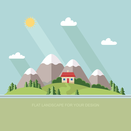 rural road: Beautiful rural landscape with houses and mountain views. The village road to the garden, field. Spring Summer Autumn. Flat design style illustration.