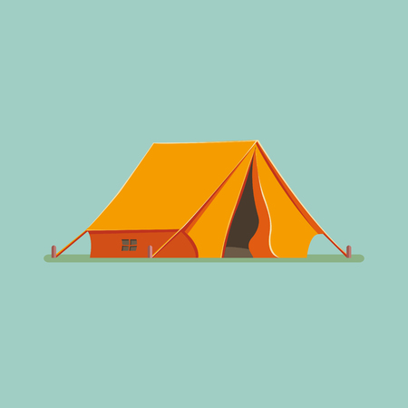Graphic Decorative Tourist cartoon tent isolated. Camping in nature in an orange hut. Vector flat illustration, icon