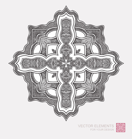 Floral abstract ornament of round shape. Christian cross, graphic elements are drawn by hand. Modernist Minimalist Art
