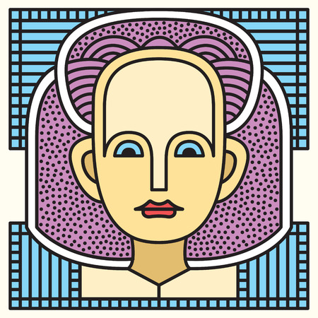Portrait of a girl in a traditional bandage on her head. Stained glass project. Elegant avatar face stylish abstract geometric. Festival memphis vector flat style