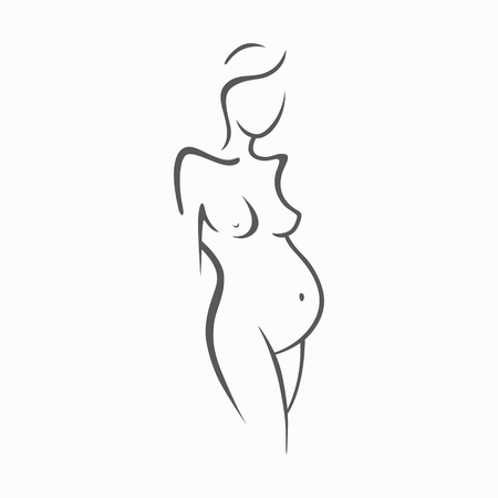 Linear drawing of beautiful pregnant girl.