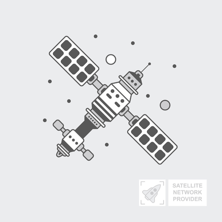 GPS satellite for navigation. ship is in orbit of the ground for tv signal transmission.  Wireless technology. World global net, Web. Flat vector icon, illustration